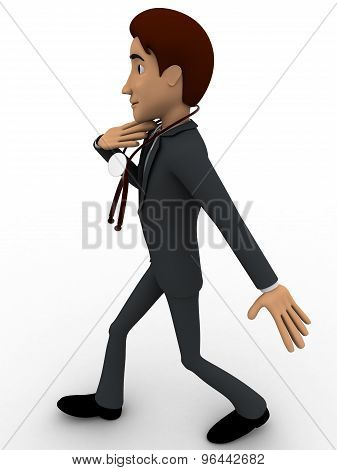 3D Doctor Walking With Stethoscope In Hand Concept
