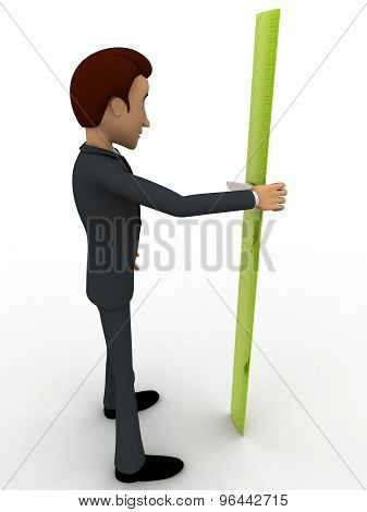 3D Man With Green Measure Tape To Measure Height Concept