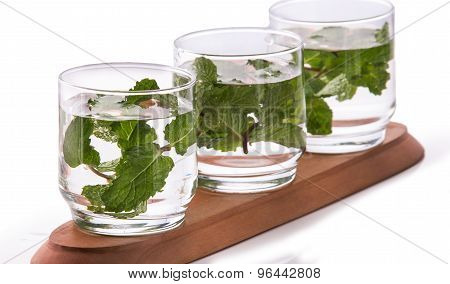 Infused Fresh Fruit Water Of Mint Leaf. Isolated Over White