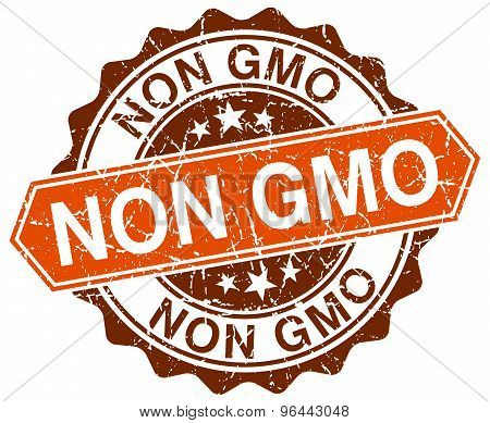 Non Gmo Orange Round Grunge Stamp On White