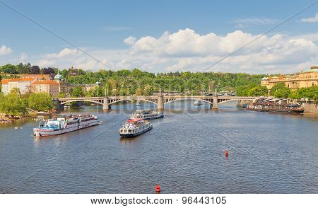 View Of Vltava River And Manesuv Bridge In Prague