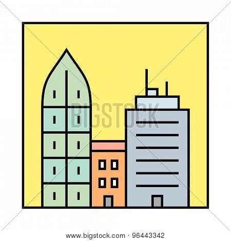 Urban vector illustration.  City skyline and buildings. Cityscape icon