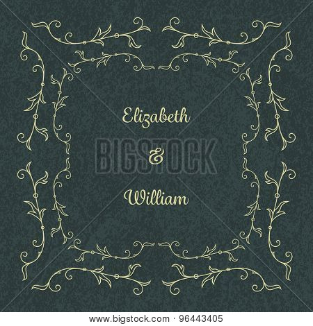 Wedding invitation template with floral ornaments and abstract background. Vector illustration