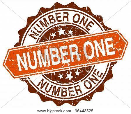 Number One Orange Round Grunge Stamp On White