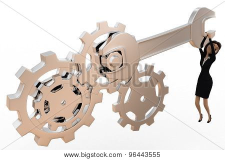 3D Woman Tightening Nut And Gears Using Mechanical Wrench Concept
