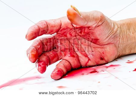Bloody Hand On The Table. A Violence Or Fear Horror Concept.