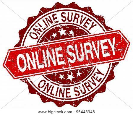 Online Survey Red Round Grunge Stamp On White