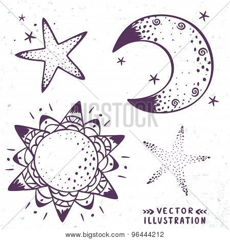 moon, stars, sun