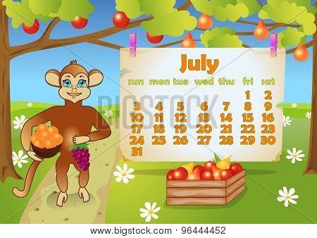 Calendar 2016 year with Monkey. July