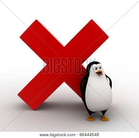 3D Penguin And Red Cross Sign Concept