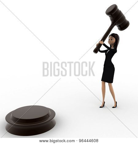3D Woman About To Hit With Wooden Hammer Concept