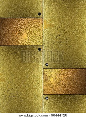 Grunge Gold Background With Gold Inserts. Element For Design. Template For Design.