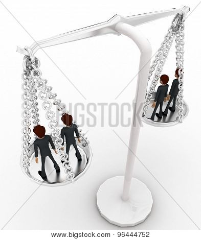 3D Men Standing Inside Weighing Scale Concept