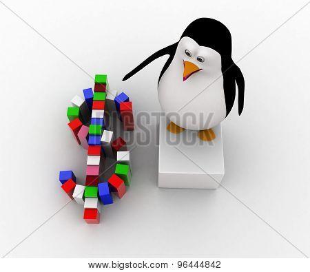 3D Penguin Making Colorful Dollar Symbol Concept