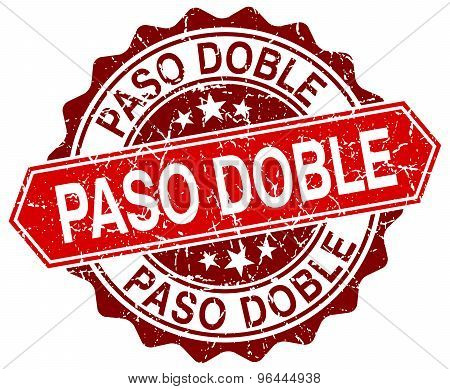 Paso Doble Red Round Grunge Stamp On White