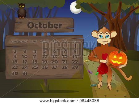 Calendar 2016 year with Monkey. October