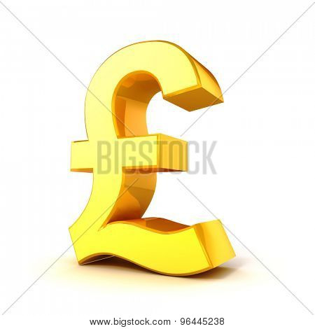 3d gold pound currency symbol on white background