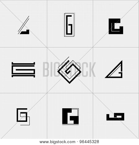 Letter G icon or logo design template elements. Vector black and white minimalistic geometric sign.