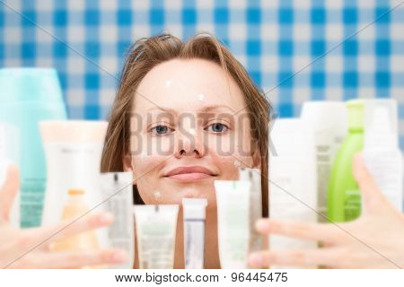 Girl Is Embracing Various Cosmetics