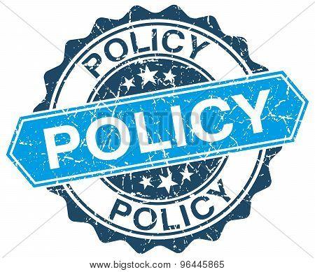 Policy Blue Round Grunge Stamp On White