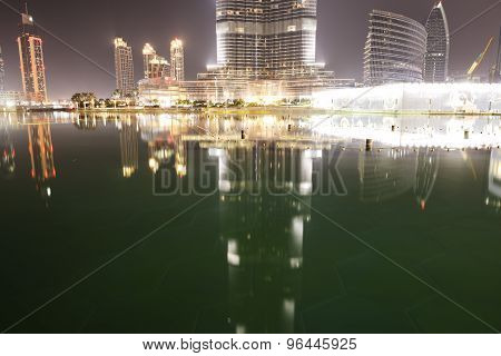 Dubai, Uae - September 9: The View On Burj Khalifa And Man-made Lake. It Is The World's Tallest Skys