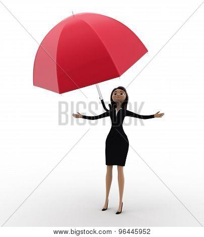 3D Women Drop Out His Umbrella Concept
