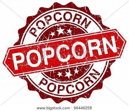Popcorn Red Round Grunge Stamp On White