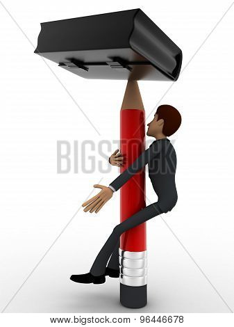 3D Man Climbing Pencil Like Tree To Pick Briefcase Concept