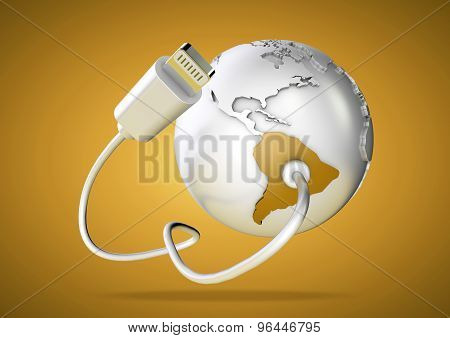 Usb Cable Supplies Data To South America On Yellow Background.