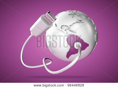 Usb Cable Supplies Data To South America On Pink Background.
