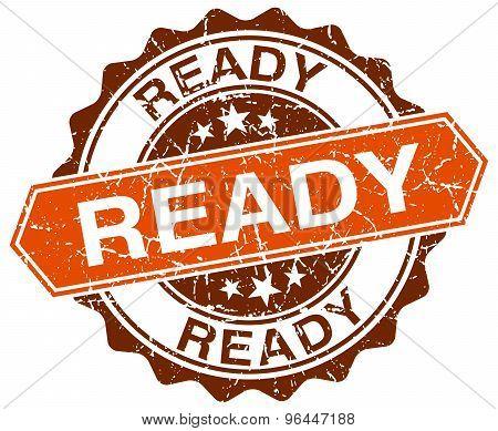 Ready Orange Round Grunge Stamp On White