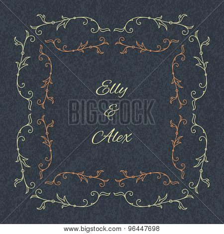 Wedding invitation card template with floral frame. Vector illustration