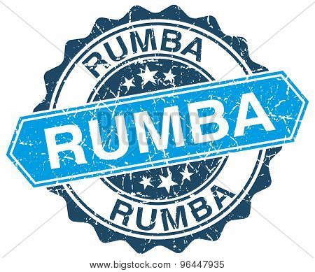Rumba Blue Round Grunge Stamp On White