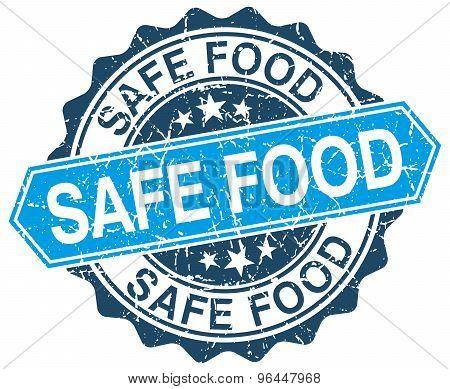 Safe Food Blue Round Grunge Stamp On White