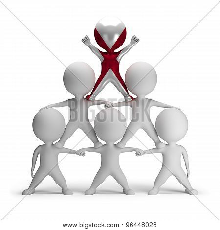 3d small people standing on each other in the form of a pyramid with the top leader Alabama