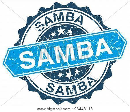 Samba Blue Round Grunge Stamp On White