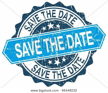 Save The Date Blue Round Grunge Stamp On White