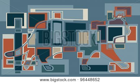 EPS8 editable vector abstract illustration of a walking cat