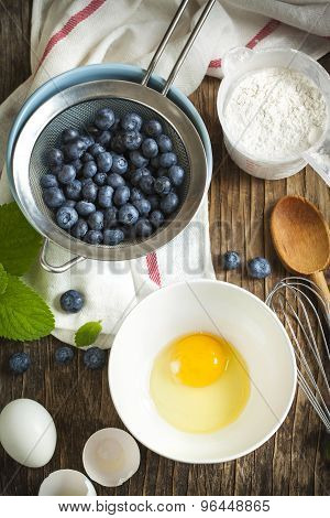 Preparation For Baking A Pie With Blueberries