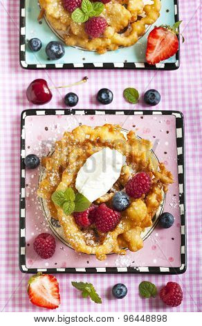Funnel Cakes With Fresh Berries And Whipped Cream