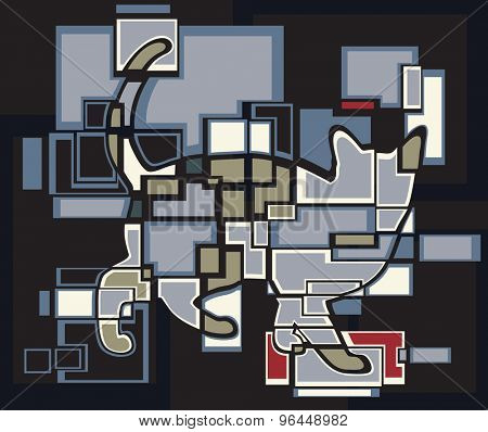 Abstract eps8 editable vector mosaic illustration of a cat
