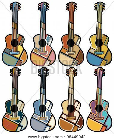 Set of colorful eps8 editable vector mosaic illustrations of acoustic guitars