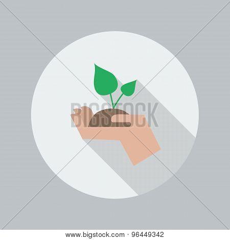 Eco Flat Icon. Hand Holding Plant