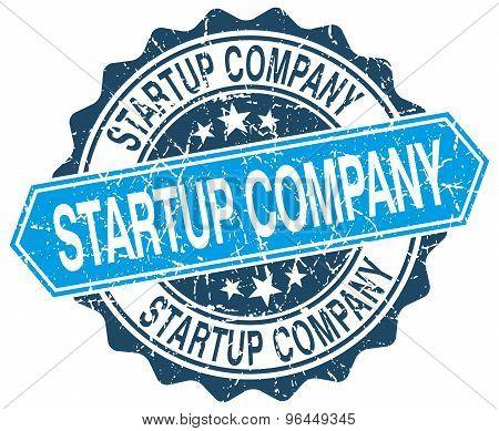 Startup Company Blue Round Grunge Stamp On White