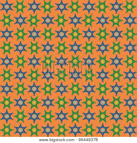Purple And Green Star Of David Repeat Pattern Background.