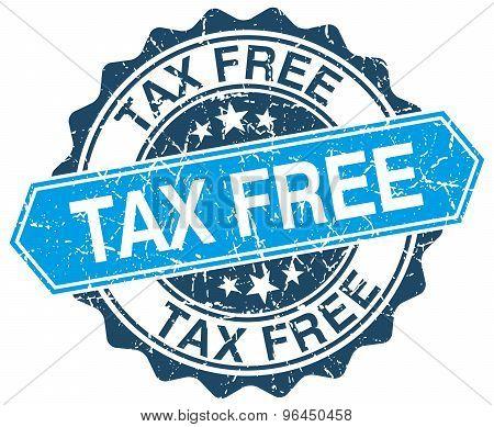 Tax Free Blue Round Grunge Stamp On White