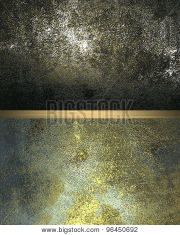 Grunge Background Of Old And Scratched Metal Plates With Gold Cutout. Element For Design. Template F