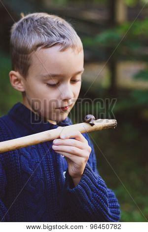 Boy looking at snail