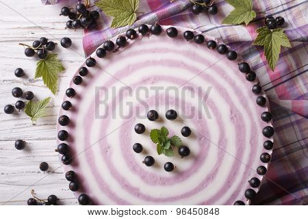 Delicious Cheesecake With Black Currant Close Up Horizontal Top View