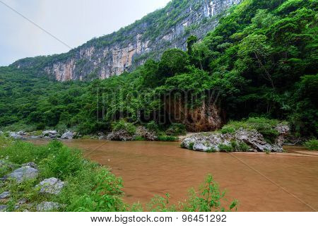 River In Tropical Jungle Canyon